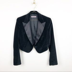 Gianni Bini Cropped Velvet Tuxedo Jacket